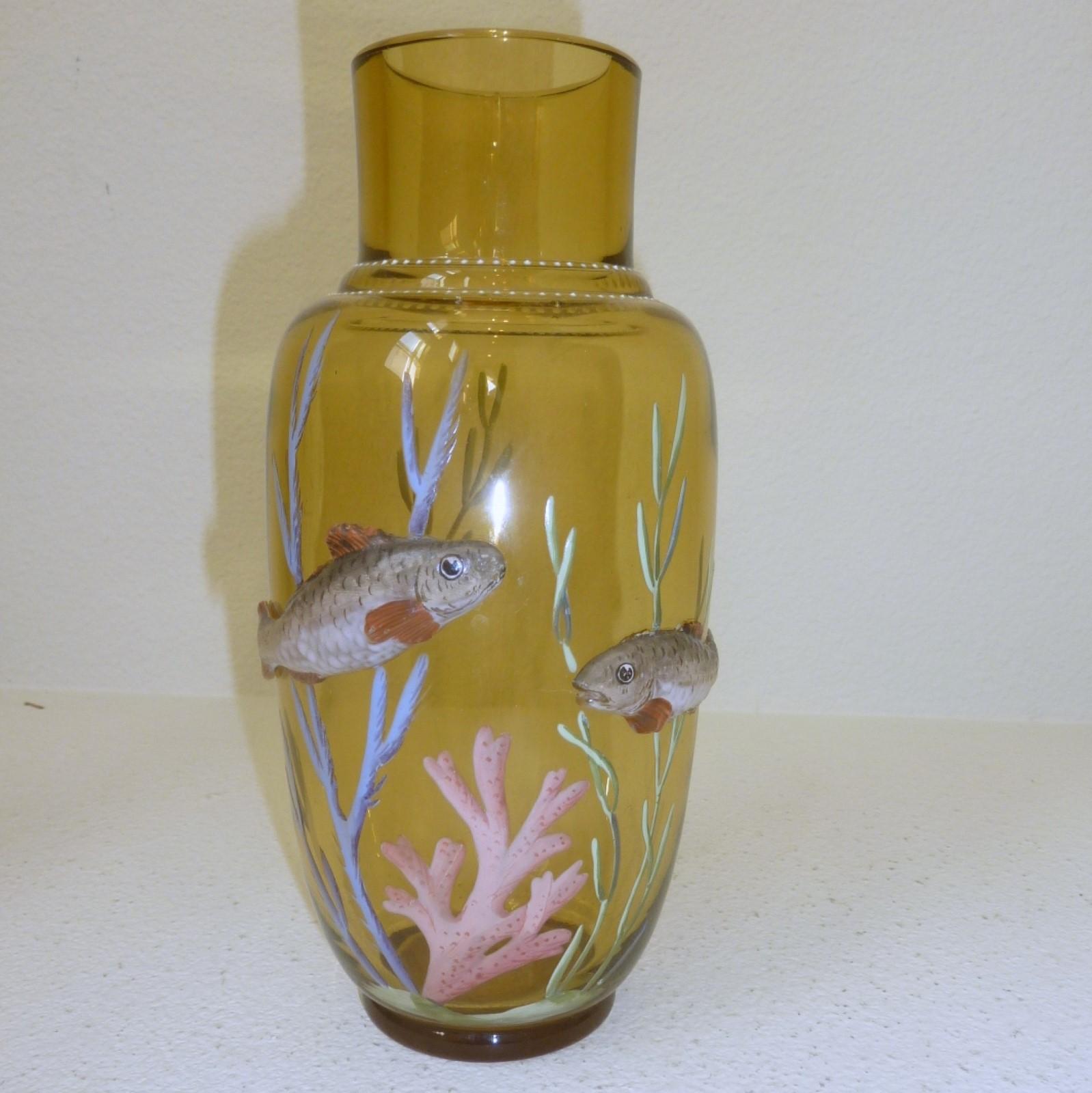 TheGildedCurio com -- Aquatic fish applied enamel Harrach