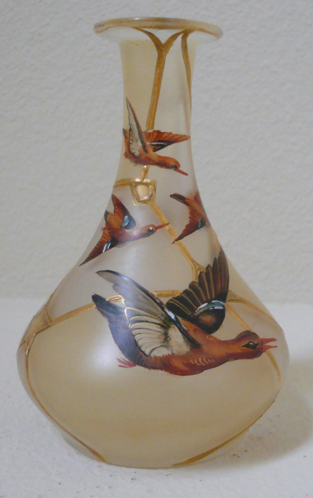 TheGildedCurio com -- Enameled Harrach glass vase India Pattern