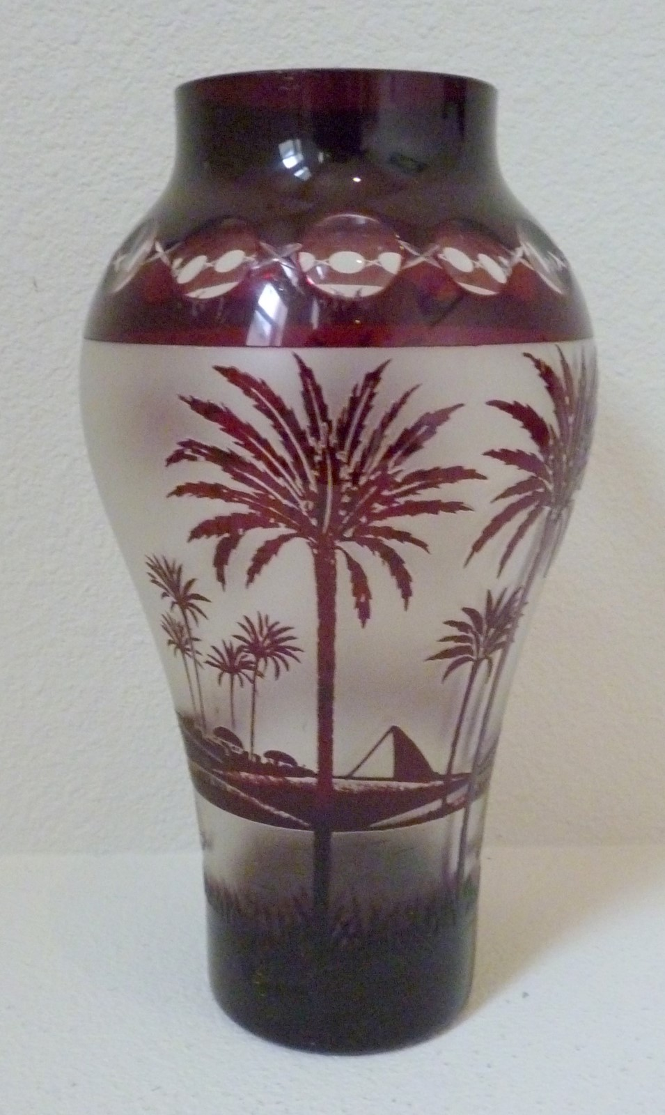 Thegildedcurio kralik cameo glass vase lamp base with 850 kralik cameo glass vase lamp base with palm trees fire polished hole in base reviewsmspy