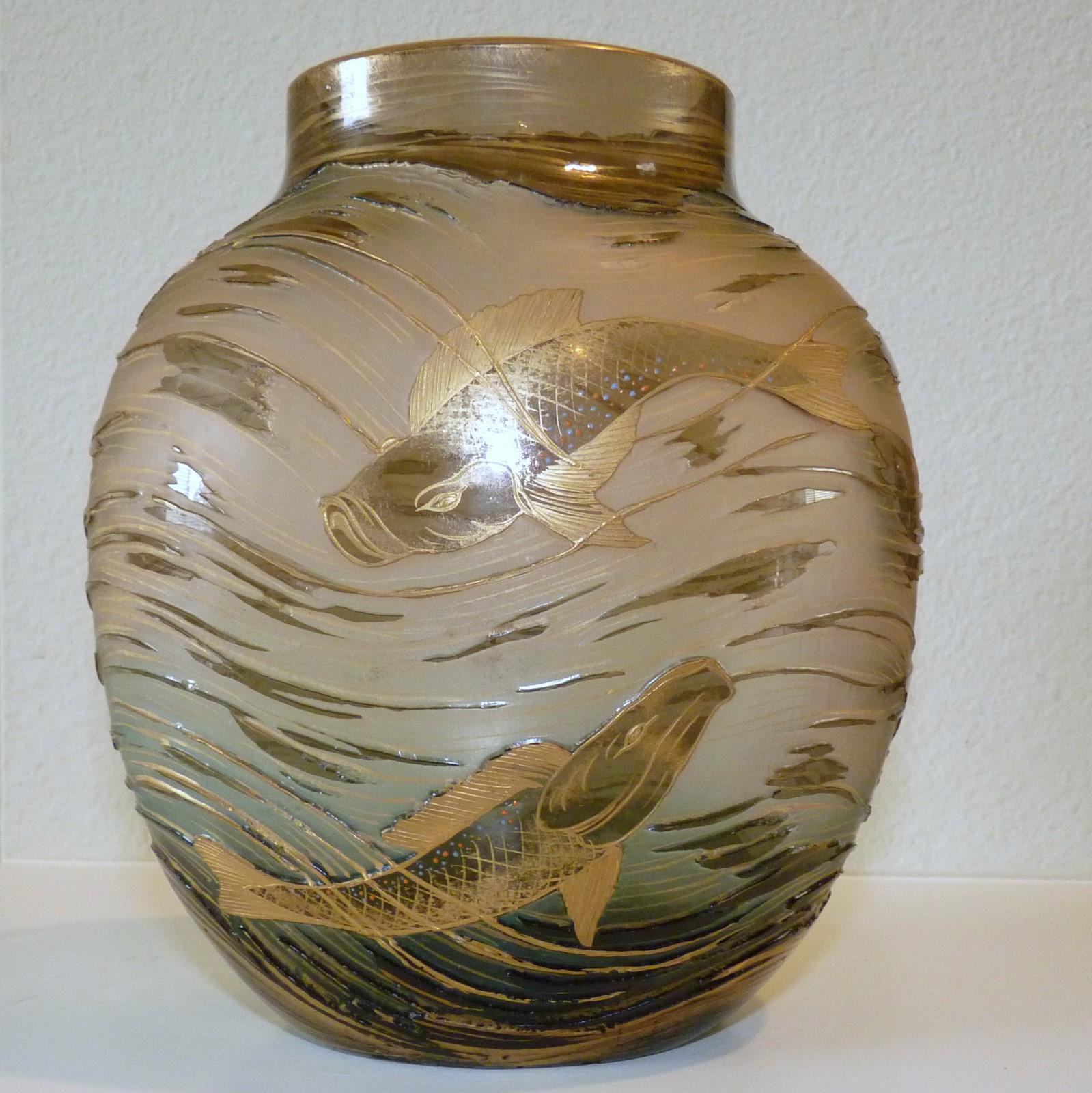 Thegildedcurio harrach 918 art nouveau cameo glass vase with koi fish harrach glass reviewsmspy